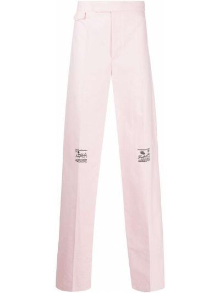 Różowe spodnie bawełniane z haftem Raf Simons