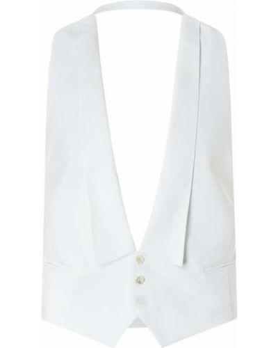Biała kamizelka bawełniana z dekoltem w serek Wilvorst
