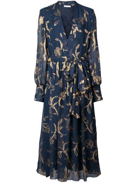 Платье миди на пуговицах с цветочным принтом Oscar De La Renta