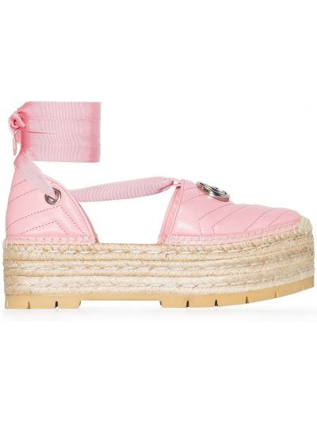 Розовые эспадрильи на платформе с завязками Gucci