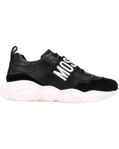 Czarne sneakersy skorzane z paskiem Moschino