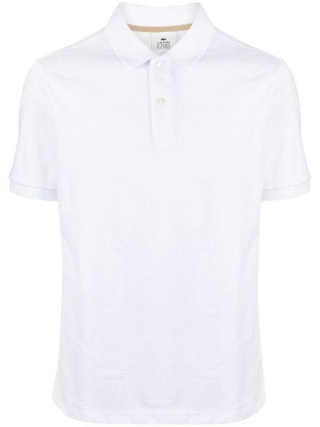 Biała koszula krótki rękaw bawełniana Lacoste Live