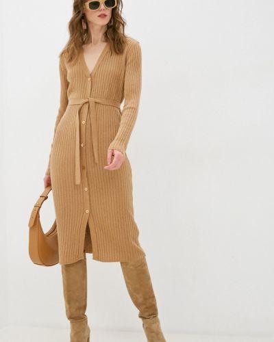 Бежевое трикотажное вязаное платье Rinascimento