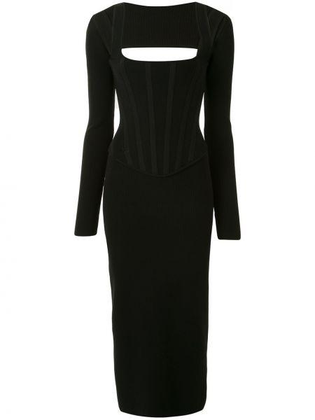 Платье миди с вырезом черное Dion Lee