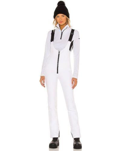 Biały z paskiem spodni kombinezon w połowie kolana z zamkiem błyskawicznym Goldbergh