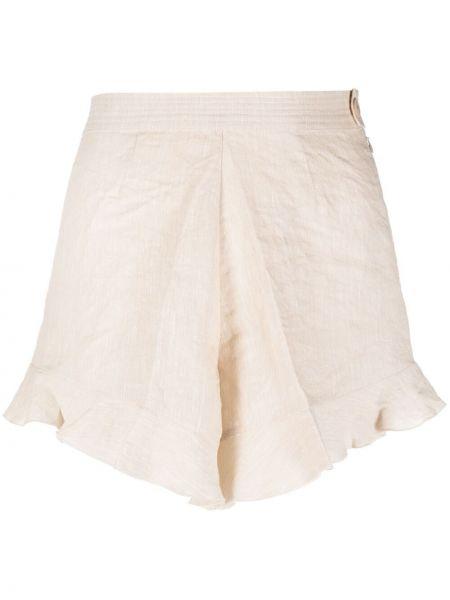Бежевые льняные с завышенной талией шорты Forte Forte