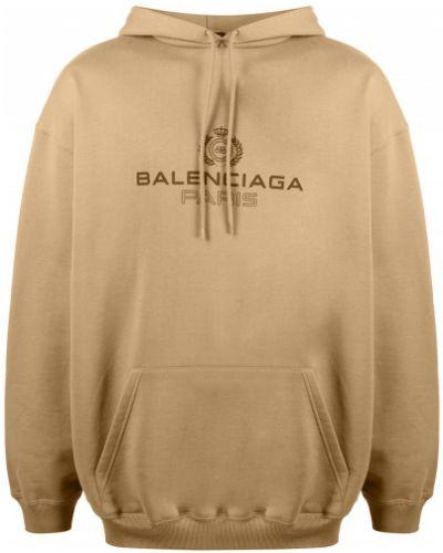 Bawełna bawełna z rękawami bluza z kapturem z kapturem Balenciaga