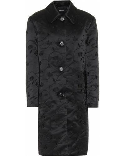 Satynowy czarny płaszcz z haftem Simone Rocha