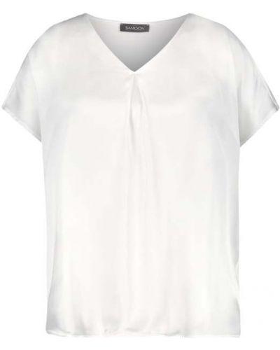 Biała koszulka z wiskozy Samoon