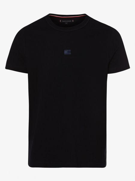 Niebieski t-shirt z haftem płaska podeszwa Tommy Hilfiger