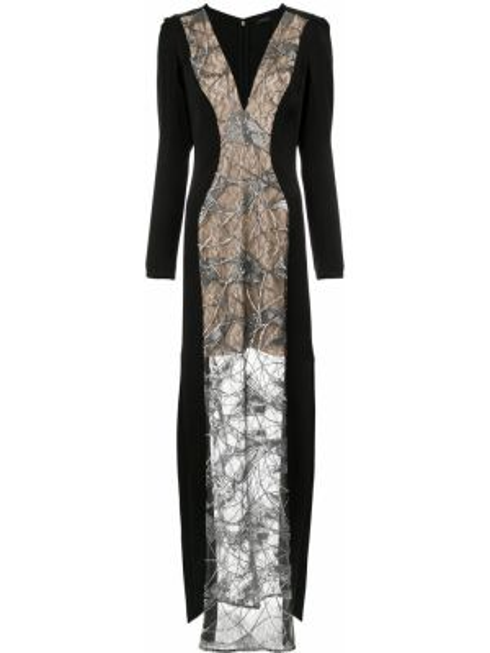 Платье макси с вышивкой с V-образным вырезом на молнии с длинными рукавами Tufi Duek