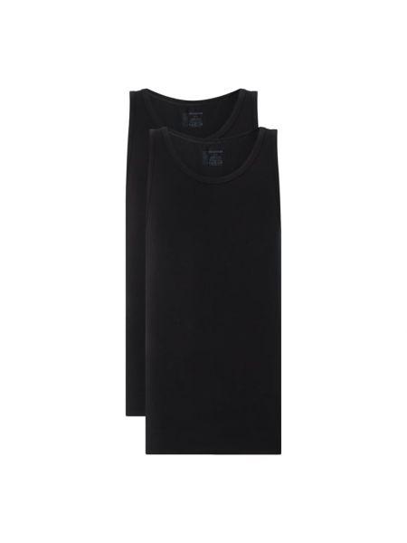 Czarny top bawełniany Schiesser