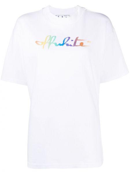 Bawełna z rękawami koszula okrągły okrągły dekolt Off-white