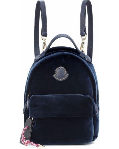 Skórzany plecak aksamit niebieski Moncler