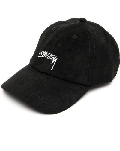 Z paskiem czarny czapka z daszkiem z haftem Stussy