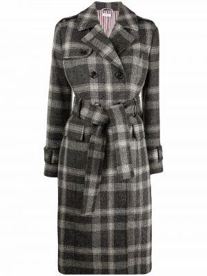 Серое пальто длинное Thom Browne