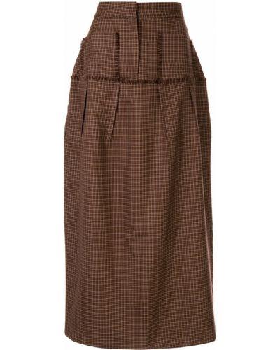 Коричневая юбка миди в рубчик Wynn Hamlyn