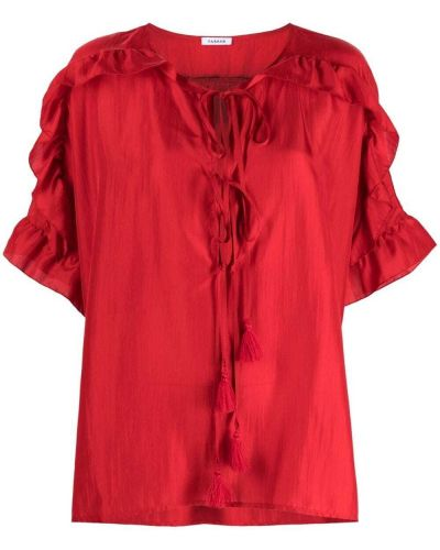 Красная шелковая блузка с короткими рукавами P.a.r.o.s.h.