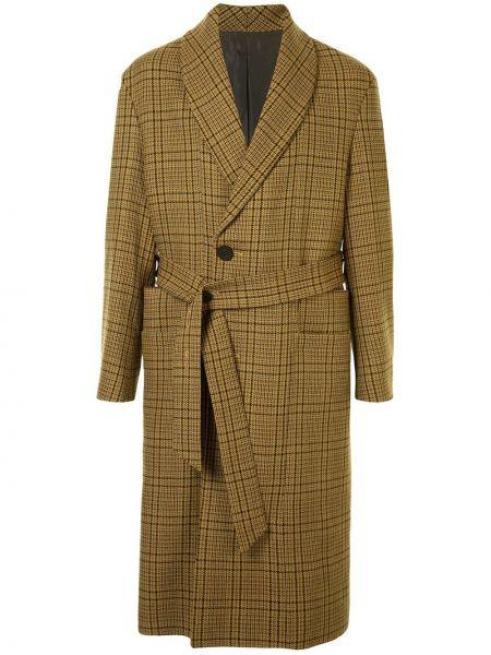 Желтое шерстяное длинное пальто на пуговицах с карманами Wooyoungmi