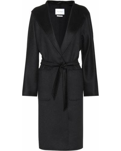 Черное пальто классическое с поясом Max Mara