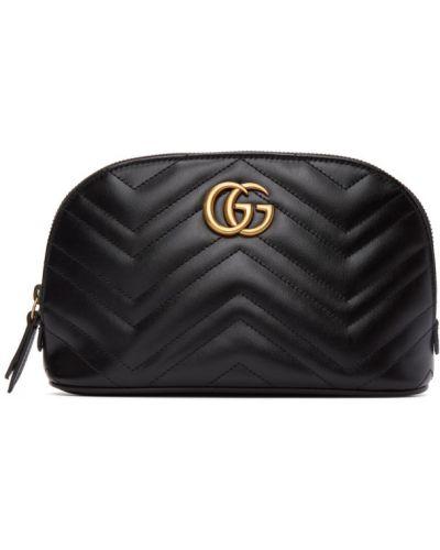 Pikowana skórzany czarny torba Gucci