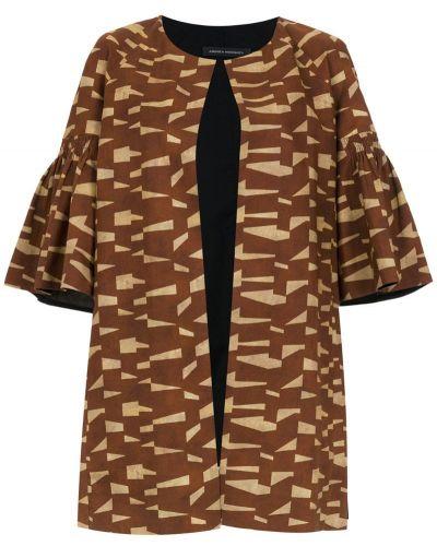 Открытое коричневое пальто с капюшоном Andrea Marques