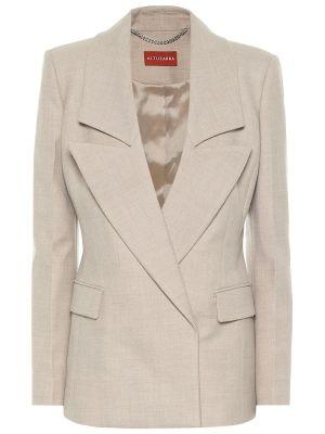 Бежевый шерстяной пиджак стрейч Altuzarra