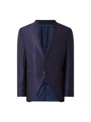 Niebieski płaszcz wełniany z dekoltem w serek Wilvorst