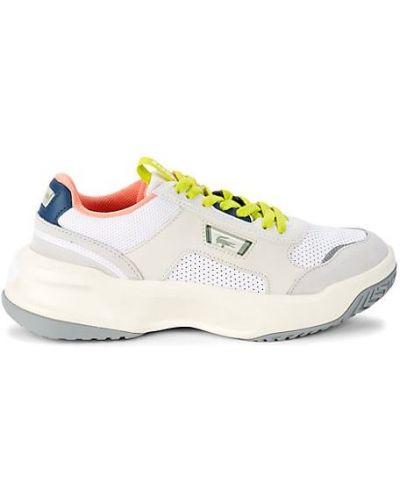 Теннисные кожаные белые кроссовки Lacoste