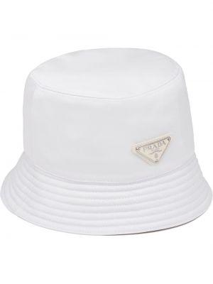 Biały kapelusz z nylonu Prada