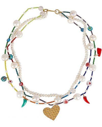Złoty naszyjnik z pereł - biały Mercedes Salazar