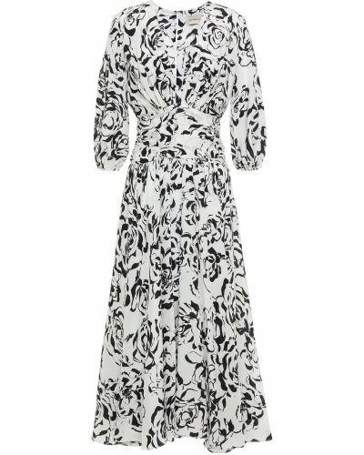 Ażurowa biała sukienka midi z jedwabiu Alexandre Vauthier