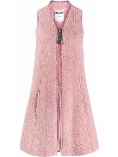 Шерстяное розовое платье без рукавов Moschino