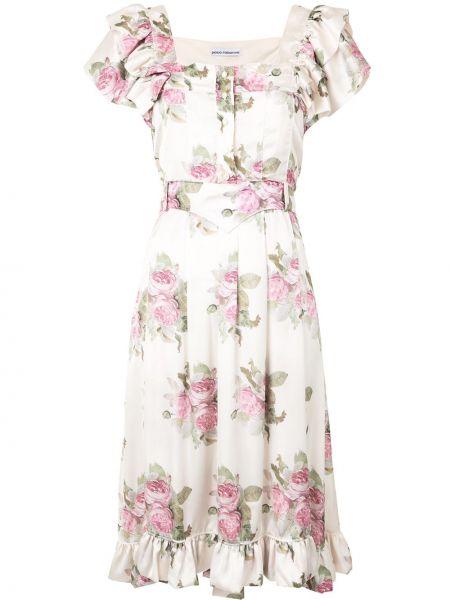 Платье миди с цветочным принтом с поясом Paco Rabanne