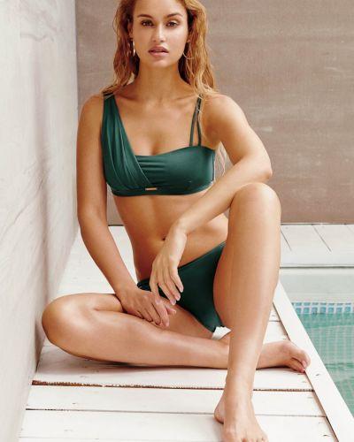 Асимметричный зеленый купальник бандо с завязками Anabel Arto