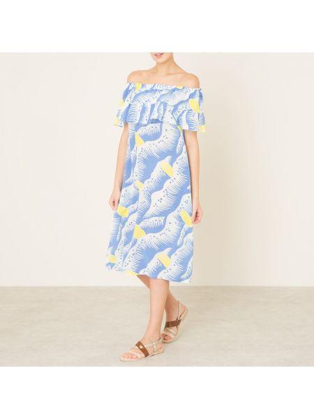 Прямое шелковое платье миди с рисунком на резинке Toupy