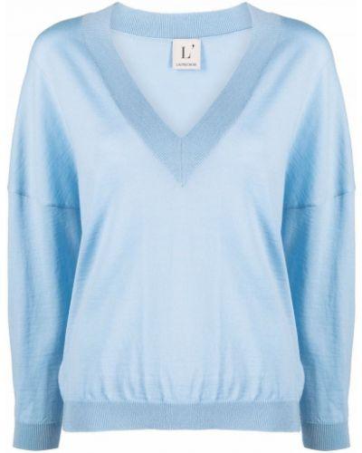 Синий шерстяной джемпер с V-образным вырезом Lautre Chose