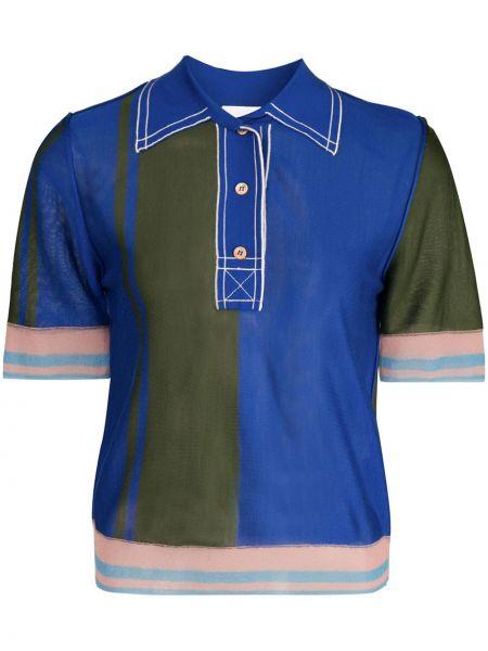С рукавами шелковый синий топ с воротником I-am-chen