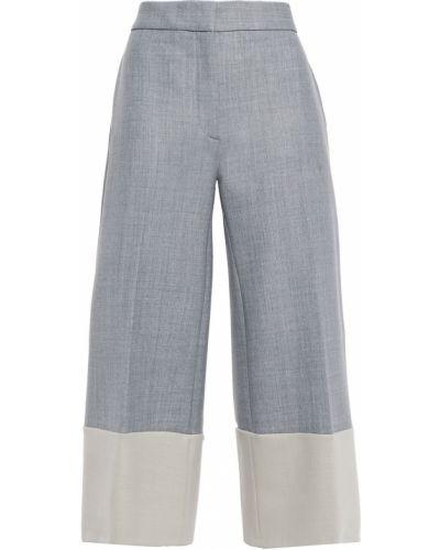 Шерстяные серые укороченные брюки свободного кроя Victoria, Victoria Beckham