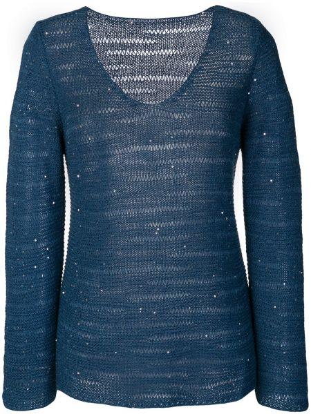 Синий свитер с вырезом Le Tricot Perugia
