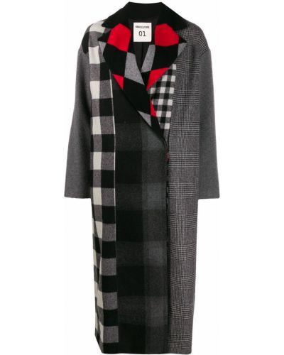 Шерстяное черное длинное пальто с воротником Semicouture