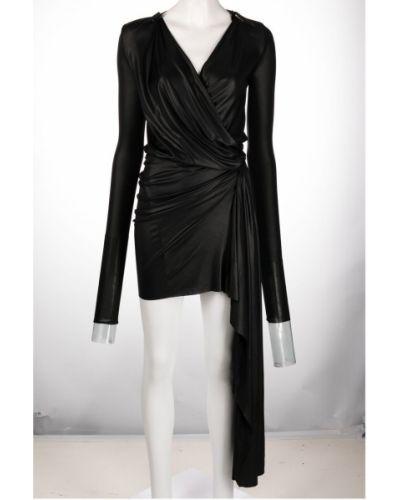 Sukienka długa z długimi rękawami - czarna Rick Owens