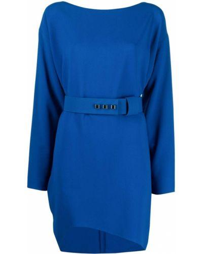 Синее платье макси с поясом с вырезом Dsquared2
