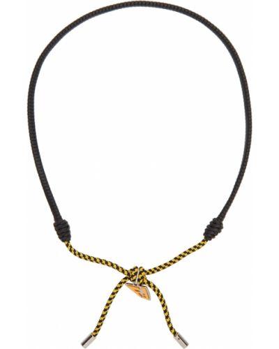 Naszyjnik srebrny - czarny Fendi