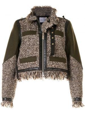Коричневый удлиненный пиджак твидовый с воротником Sacai