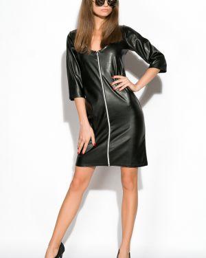 Приталенное кожаное платье Time Of Style