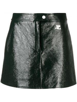 Хлопковая зеленая юбка мини с вышивкой Courrèges
