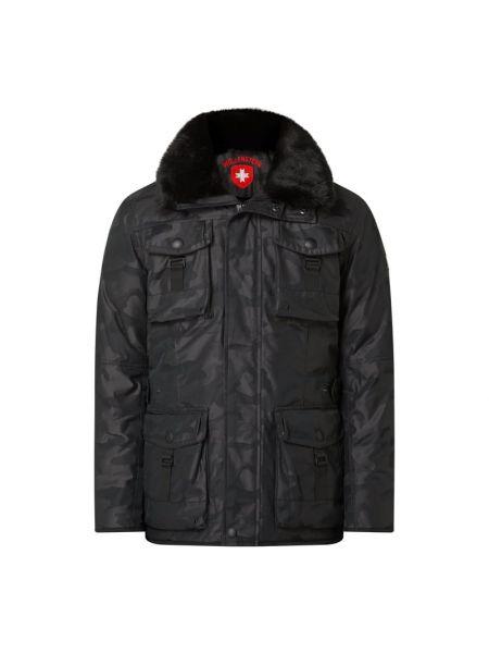 Czarny kurtka z kapturem z mankietami z kieszeniami z zamkiem błyskawicznym Wellensteyn