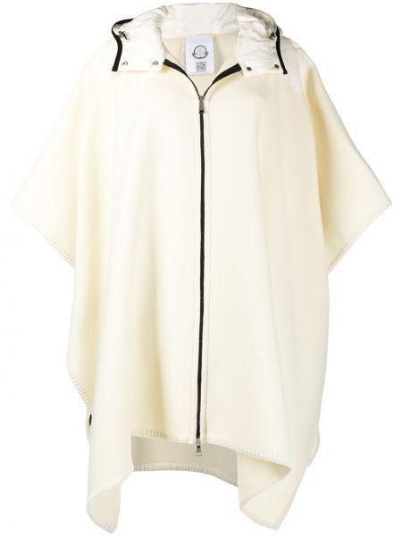 Белое шерстяное пальто классическое с капюшоном Moncler