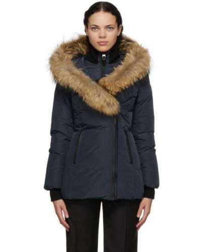 Черная кожаная длинная куртка с капюшоном Mackage